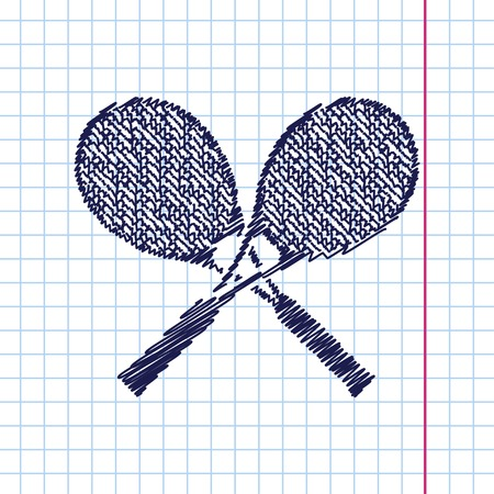 Vector hand drawn tennis rackets icon on copybook Illustration
