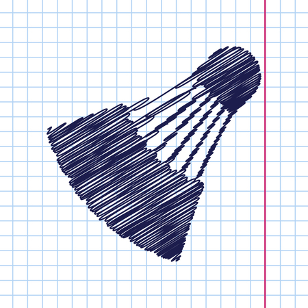 cross match: Vector hand drawn simple badminton icon on copybook Illustration
