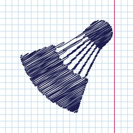 cross match: Vector hand drawn simple badminton icon on copybook Illustration