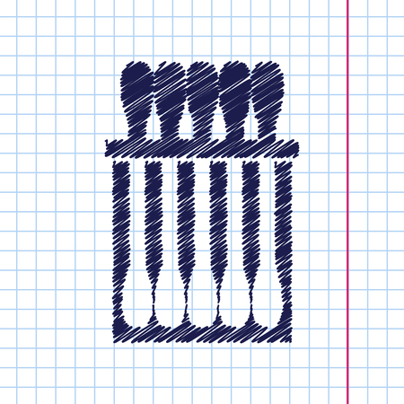 ear bud: Vector hand drawn cotton swabs icon on copybook