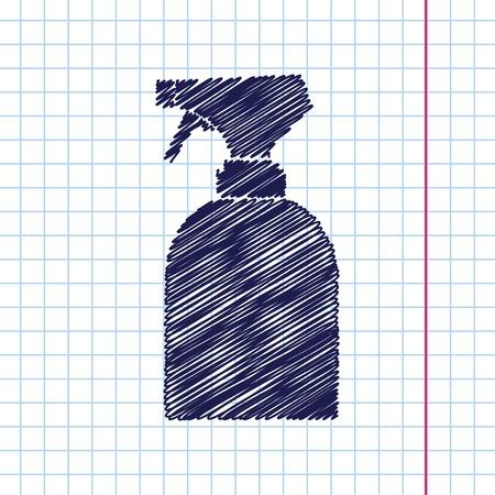 sprayer: Vector hand drawn sprayer bottle on copybook