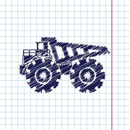 camion minero: Vector dibujado a mano icono de la m�quina pesada en cuaderno