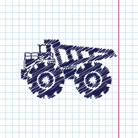 mining: Vector hand drawn heavy machine icon on copybook Illustration