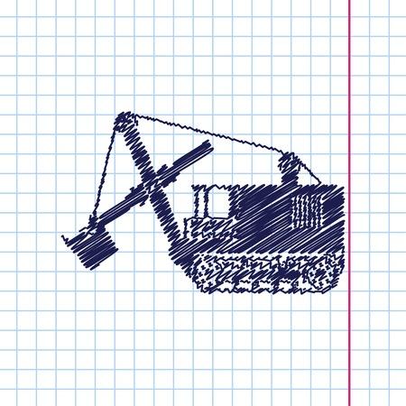 land development: Vector hand drawn heavy machine icon 2 Illustration