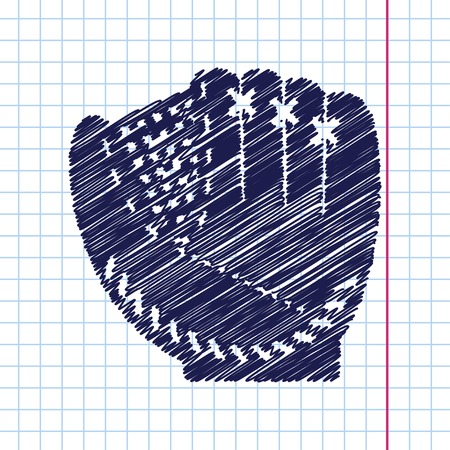 cowhide: Vector hand drawn baseball glove icon on copybook