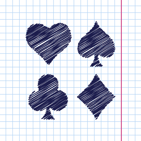 jack of diamonds: Vector hand drawn game casino cards suit icon on copybook