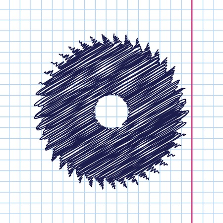 Vector hand drawn circular saw icon on copybook Illustration
