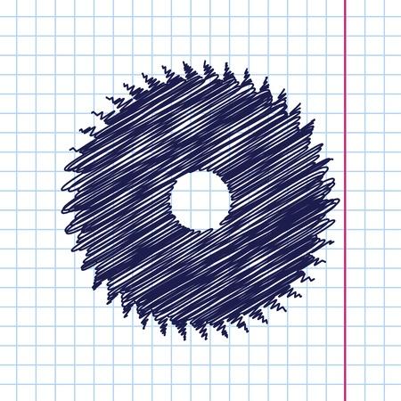 cutoff blade: Vector hand drawn circular saw icon on copybook Illustration