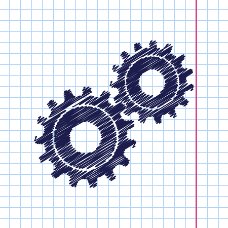 gearing: Vector hand drawn two cogwheels icon on copybook