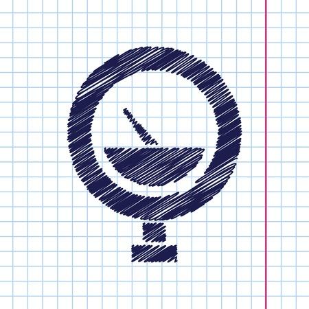 manometer: Vector hand drawn manometer icon on copybook