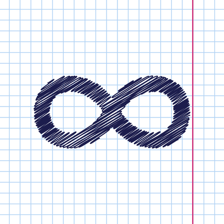 infinity icon: Vector hand drawn infinity icon on copybook Illustration
