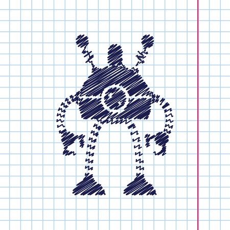 robot toy: Vector hand drawn retro robot toy icon on copybook Illustration