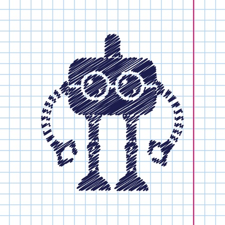 retro robot: Vector hand drawn retro robot toy icon on copybook Illustration