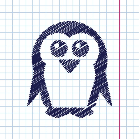 flightless: Vector hand drawn penguin icon on copybook