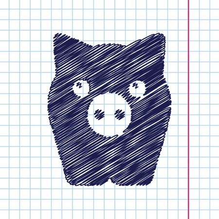 oink: Vector hand drawn pig icon on copybook
