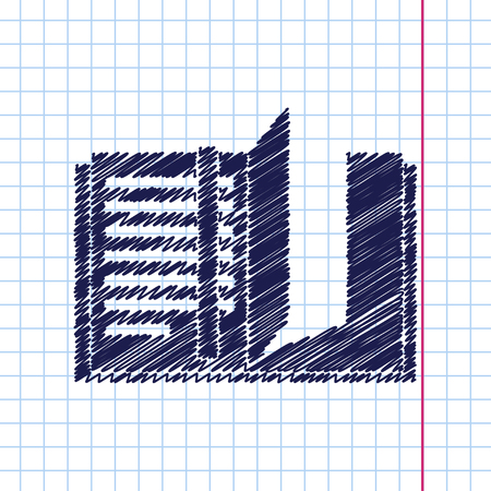 periodicals: Vector hand drawn notebook icon on copybook