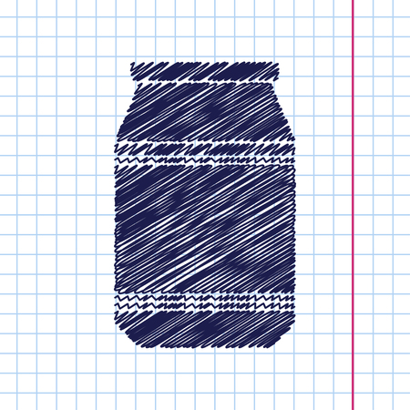 unlabeled: Vector hand drawn kitchen bottle template on copybook