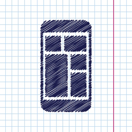 smartphone in hand: Vector hand drawn smartphone icon on copybook
