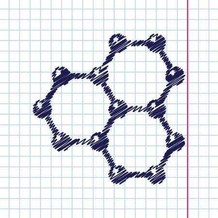 graphene: Vector hand drawn graphene icon on copybook . Science illustration Illustration
