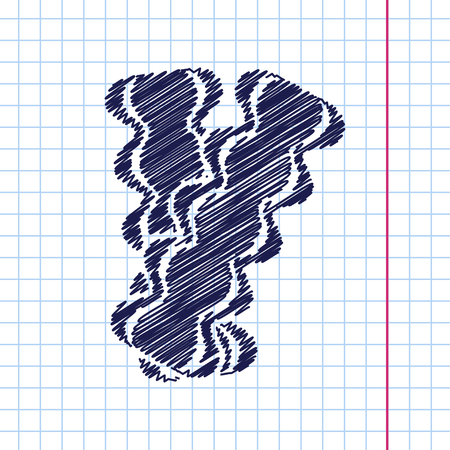 browned: Vector hand drawn bacon icon on copybook