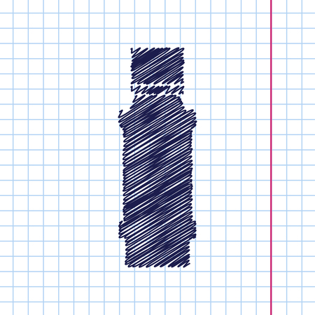 flavoring: Vector hand drawn flavoring bottle on copybook . Kitchen icon