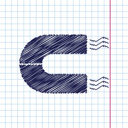 natural forces: Vector hand drawn magnet icon on copybook Illustration