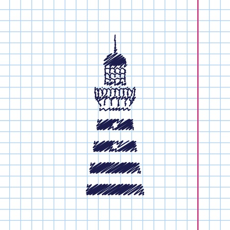 hope symbol of light: Vector hand drawn lighthouse icon on copybook Illustration