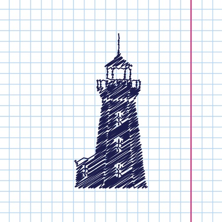 lighthouse keeper: Vector hand drawn lighthouse icon on copybook Illustration
