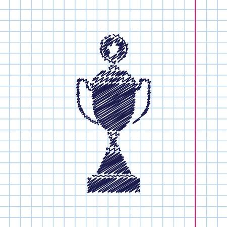 goblet: Vector hand drawn trophy goblet icon on copybook . Winner award Illustration
