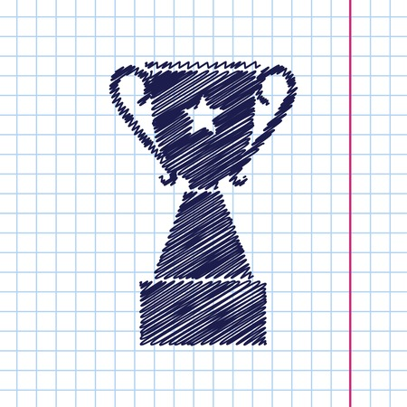 trophy winner: Vector hand drawn trophy goblet icon on copybook . Winner award Illustration