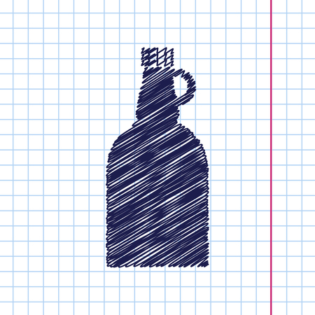 flavoring: Vector hand drawn vinegar bottle template on copybook Illustration