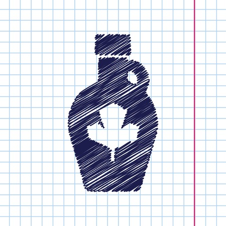maple syrup: Vector hand drawn maple syrup bottle template on copybook