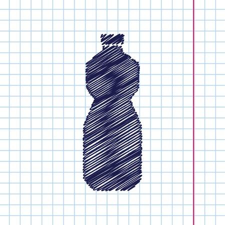oil bottle: Vector hand drawn sunflower oil bottle template on copybook