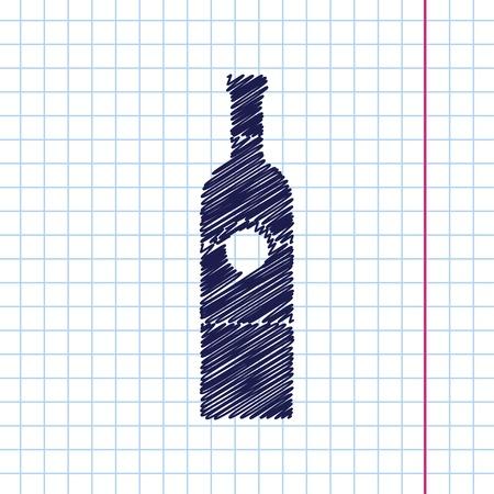 unopened: Vector hand drawn vine bottle template on copybook
