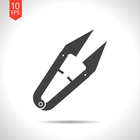 ripper: Vector flat black tailor seam ripper icon on white background Illustration