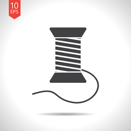 filling material: Vector flat black tailor thread bobbin icon on white background Illustration