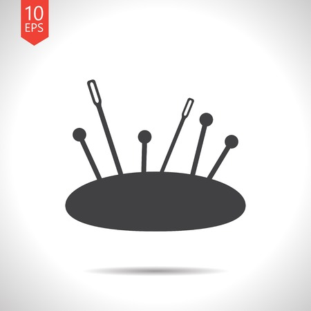 large group of items: Vector flat black tailor pins and needles icon on white background