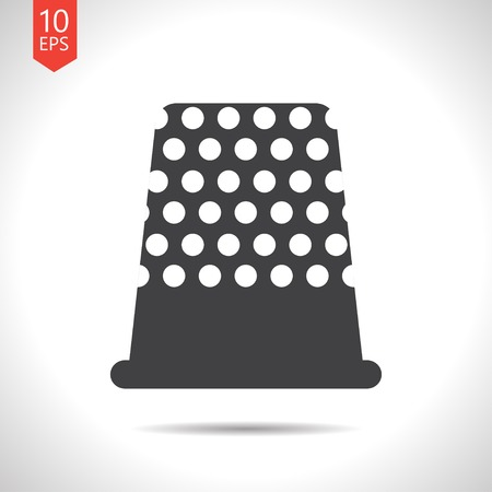 thimble: Vector flat black tailor thimble for finger icon on white background