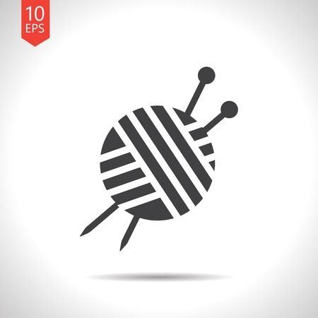 Vector flat black tailor ravel ball of yarn for knitting icon on white background Çizim