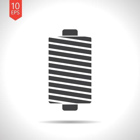 Vector flat black tailor thread bobbin icon on white background Çizim