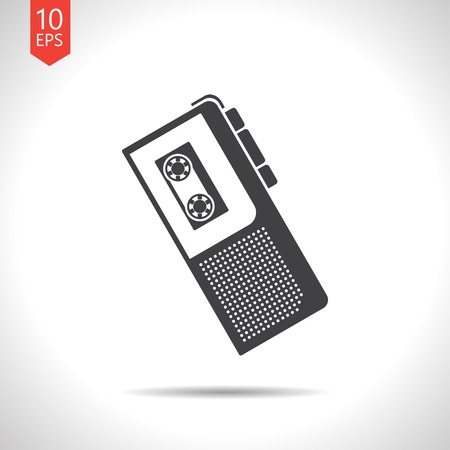 Vector flat black retro dictaphone icon on white background