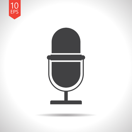 entertaining presentation: Vector flat black retro microphone icon on white background