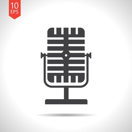 oldie: Vector flat black retro microphone icon on white background