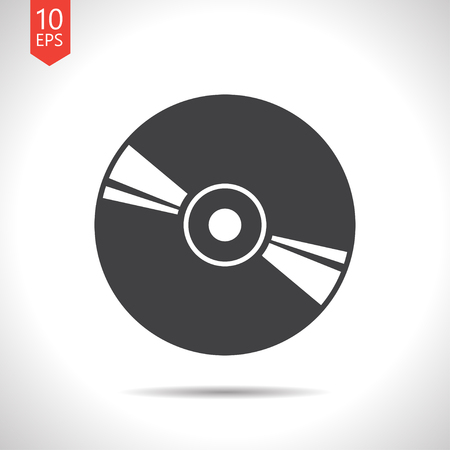 Vector flat black compact disc icon on white background
