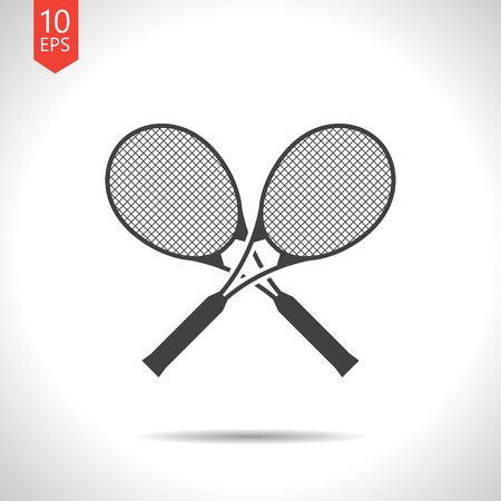 bounces: Vector flat black tennis rackets icon on white background