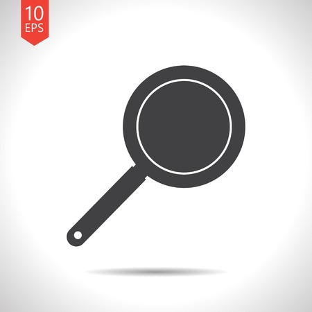 steam cooker: Vector flat black pan icon on white background
