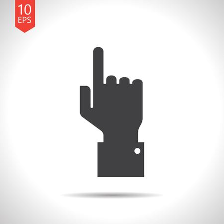 help section: Vetor flat black hand pointer icon on white background