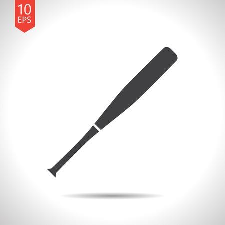 pelota de beisbol: Vector plana bate de b�isbol icono negro sobre fondo blanco