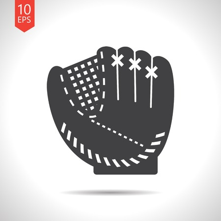 cowhide: Vector flat black baseball glove icon on white background