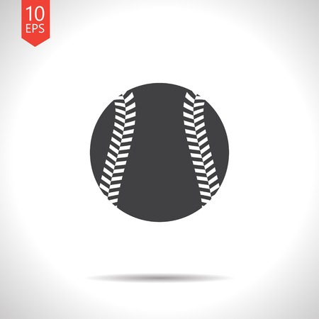 fast pitch: Vector flat black baseball icon on white background